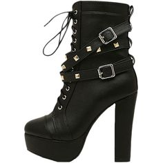 Blackfive Studded Lace Up Block Heel Platform Boots (74 AUD) ❤ liked on Polyvore