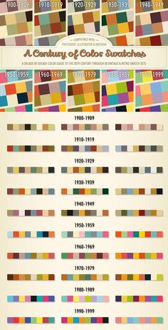 Buy A Century of Color - Retro Swatches by on GraphicRiver. Presenting a massive selection of vintage and retro swatches inspired by the fashions and culture of the century. Vintage Colour Palette, Colour Pallette, Colour Schemes, Vintage Colors, Color Combos, Retro Colours, Palette Art, Color Patterns, Photoshop