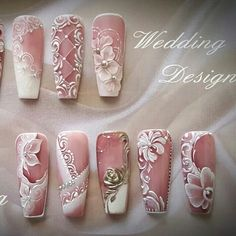 White Flowers Nail Art # Wedding Nails - http: // rolling-top . 3d Nail Art, 3d Nails, Cute Nails, Nail Arts, Stiletto Nails, Acrylic Nails, Pastel Nails, Art 3d, Nail Art Fleur