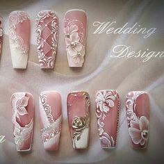 White flowers nail art