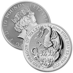 The silver coins are larger than usual (sized at 2 ozs and 10 ozs), the artwork is stunning and each design carries a unique historical back story along with a touch of mythology. The 10 oz Dragon epitomizes what the coin series has to offer. Silver Coins For Sale, Gold And Silver Coins, Bullion Coins, Silver Bullion, Foreign Coins, Coin Prices, Coin Jewelry, Red Dragon, Coin Collecting