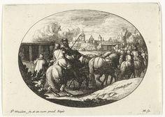 Jan van Huchtenburg | Leger en koetsen trekken naar stad, Jan van Huchtenburg, Adam Frans van der Meulen, Lodewijk XIV (koning van Frankrijk), 1674 - 1733 | Twee door paarden getrokken koetsen trekken samen met een leger naar een stad. In de koets links zitten drie vrouwen. Boven de stad een rookwolk.