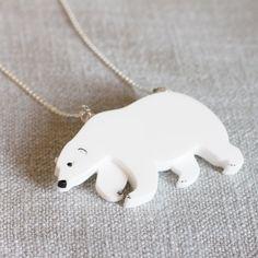 Polar Bear necklace laser cut wildlife marine por finestimaginary