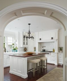 My friend, Kristin's, fabulous kitchen.  (looking from the family thru the paneled archway)