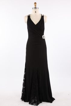 Black A-line V-neck Satin Formal Evening Dress with Lace and Spaghetti Straps #Black Evening Dress#