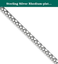 Sterling Silver Rhodium-plated Fancy 5mm Bracelet. Product Type:Jewelry Jewelry Type:Bracelets Bracelet Type:Fancy Material: Primary:Sterling Silver Material: Primary - Color:White Material: Primary - Purity:925 Finish:Polished Plating:Rhodium Chain Length:8 in Clasp /Connector:Lobster (Fancy) .