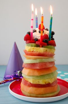 Make this Fruit Tower Birthday Cake when you want a fun and healthy birthday cake. Kids and adults love it and it's really easy to make. No baking required!