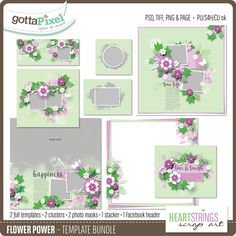 Flower Power Template Bundle :: Pixel Club Full Daily Downloads :: Pixel Club :: Gotta Pixel Digital Scrapbook Store