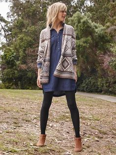 Chambray tunic, tights, cardi | Old Navy