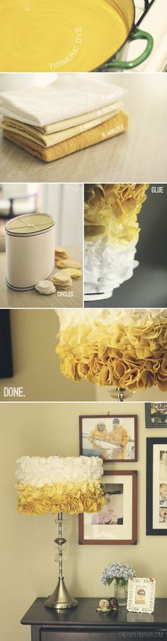DIY-ify: Natural Turmeric Dye + Ruffled Lampshade on the Better Homes and… Diy Design, Creative Crafts, Diy Crafts, Luminaria Diy, Diy Ombre, Lampshades, Diy Lampshade, Crafty Craft, Crafting