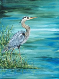 Large Blue Heron Art Canvas... http://www.completely-coastal.com/2016/10/shorebird-art-blue-herons-sand-pipers.html