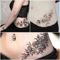 Discreet Tattoos For Women, Cute Tattoos For Women, Mini Tattoos, Body Art Tattoos, New Tattoos, Tummy Tuck Tattoo, Stomach Tattoos Women, Bauch Tattoos, Waist Tattoos