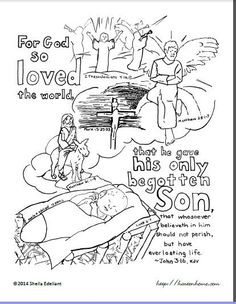 The story of salvation in one verse -- and one coloring page. John (KJV) illustrated by the life of Jesus from birth to the Second Coming. Story, too! Bible Crafts For Kids, Bible Lessons For Kids, Sunday School Lessons, Sunday School Crafts, Bible Verse Coloring Page, Bible Verse Memorization, Kids Church, Church Ideas, Vacation Bible School