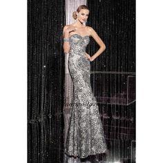 Sliver Fully Sequined Flower Motif Long Prom Dress
