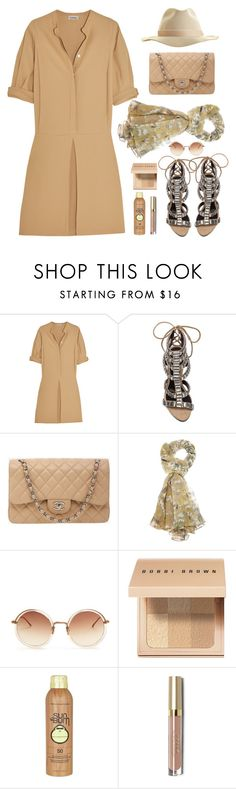 """Ootd//beige"" by lisamichele-cdxci ❤ liked on Polyvore featuring Totême, Schutz, Chanel, Dolce&Gabbana, Linda Farrow, Bobbi Brown Cosmetics, Sun Bum and Artesano"