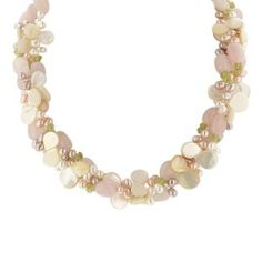 3-Row Rose Quartz, Peridot, White Mother-Of-Pearl, and Multi-Color Freshwater Cultured Pearl Necklace with Sterling Silver Clasp,