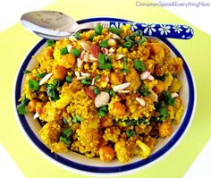 Curried Chickpea and Cauliflower Couscous. Could substitute couscous for quinoa for gluten free idea.