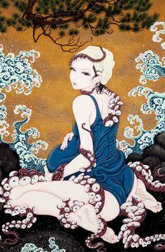 Ero guro - Rosana Raven ☥~ By Yuji Moriguchi Arte Horror, Horror Art, Illustrations, Illustration Art, Arte Indie, Motif Art Deco, Art Asiatique, Octopus Art, Japanese Painting