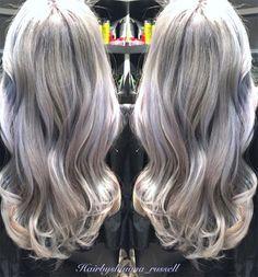 Granny Silver/ Grey Hair Color Ideas: Lavender Silver Wavy Hair