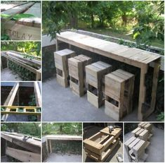 Pallets Outdoor Furniture 20 Outdoor Pallet Furniture DIY ideas and tutorials -Pallet Bar Table and Stools - 20 DIY Outdoor Pallet Furniture Ideas and Tutorials for Your Garden and Patio Pallet Furniture Tutorial, Pallet Furniture Bar, Unique Wood Furniture, Outdoor Furniture Design, Furniture Ideas, Cheap Furniture, House Furniture, Furniture Stores, Discount Furniture