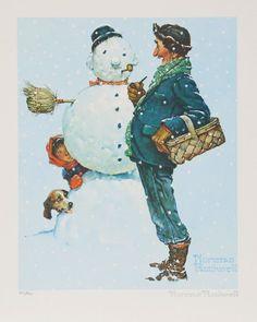 "Lithograph ""Brown and Bigelow"" after Norman Rockwell : Lot 125 Norman Rockwell Prints, Norman Rockwell Paintings, Christmas Art, Vintage Christmas, Christmas Holidays, Painting Snow, Christmas Illustration, American Artists, Cute Art"