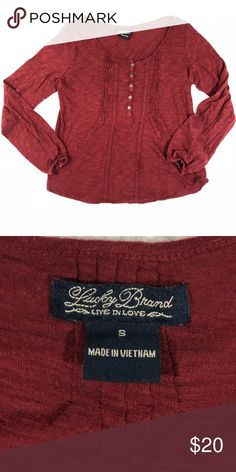 """Lucky Brand   Maroon long sleeve top Maroon colored long sleeve top with lace detailing from lucky brand! Very similar to a peasant style top! In like new condition!  Measurements: 18"""" pit to pit (bust) 20.5"""" long 17.5"""" sleeve (length) Size small Lucky Brand Tops Blouses"""