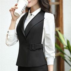 Plus Size Elegant Black Slim Uniform Styles Vest Coat Business Jackets Blazers For Women Ladies Female Outwear Vest - Woman Jackets and Blazers Vest Coat, Vest Jacket, Blazer Jackets For Women, Blazers For Women, Black Blazers, Black Vest, Business Attire, Business Fashion, Hijab Fashion
