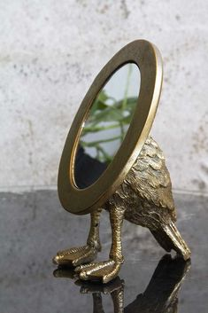 Antique Gold Duck Feet Vanity Mirror