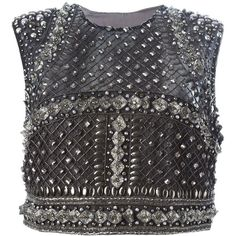 Alberta Ferretti Embellished Top ($2,918) ❤ liked on Polyvore featuring tops, alberta ferretti, blusa, tanks, grey, embellished tops, gray top, grey top and grey silk top