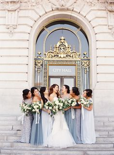 Shades of blue bridesmaid dresses at a City Hall wedding Mix Match Bridesmaids, Dusty Blue Bridesmaid Dresses, Dusty Blue Weddings, Wedding Bridesmaids, Dusty Blue Dress, Wedding Dresses, Maroon Dress, Bridesmaid Ideas, 21 Dresses
