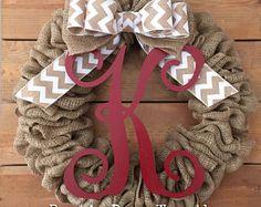 Front Door Wreath / Burlap Wreath / Initial Wreath / Front Door Letter Wreath / White Red Chevron Wreath