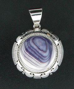 Sterling Silver & Quahog Wampum Navajo Round Pendant by Larry Yazzie