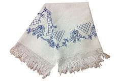 Blanket Cover w/ Blue Embroidery on OneKingsLane.com