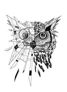 Impressive half-geometric owl tattoo design by Junbenliesor