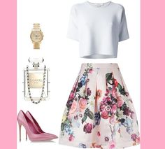 skirt floral floral skirt channel clutch handbag shoes watch fashion white pink summer outfit look lookbook flowers nude top short sleeve blouse shirt bottoms pleated skirt crop tops clear summer outfits accessories girly t-shirt bag jewels