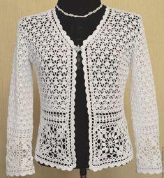Discover thousands of images about Crochet Summer Jacket Original Designe Irish Lace Beige - CrochetingNeedles. Pull Crochet, Gilet Crochet, Crochet Coat, Crochet Jacket, Freeform Crochet, Crochet Blouse, Crochet Clothes, Crochet Stitches, Crochet Bolero Pattern