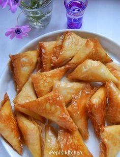 Delicious greek cheese pies with creamy filling made in Pepi's kitchen! Greek Recipes, Desert Recipes, Food Network Recipes, Cooking Recipes, Greek Cheese, Cake Mix Cookie Recipes, Greek Dishes, English Food, English Cheese