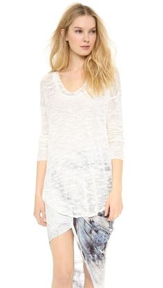 Helmut Lang Irregular Silk V Neck Sweater