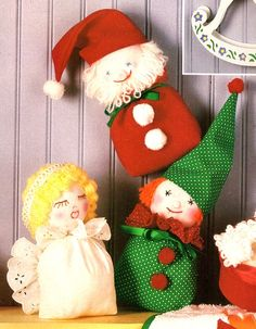 Sock Christmas Angel, Santa and Elf