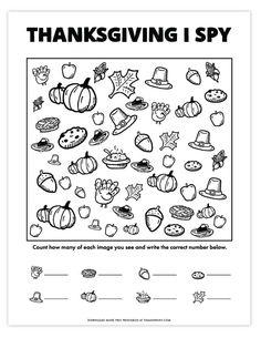 Thanksgiving I Spy Game | Free Printable Thanksgiving Activities