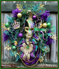 My **first** traditional Mardi Gras Celebration Wreath! *SOLD!* but 4 more coming soon!!