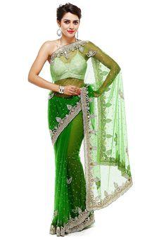 Beautiful Saree, Beautiful Indian Actress, Net Blouses, Satin Saree, Embroidery Saree, Green Saree, Net Saree, Indian Fashion Dresses, Work Sarees