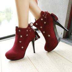 Women's Pure Color High Heel Thin Heel With Back Lace Tassel Short Martin Boots
