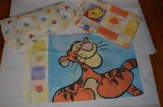 Vtg Used Winnie the Pooh Disney Twin Bed Flat Fitted Sheets Pillow Case COMPLETE