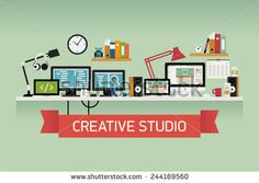 Vector modern flat design on creative studio | Set of trendy website covers with various department workspace interiors - stock vector