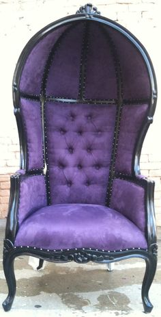 For Josie - Black & Purple Porters Chair Domed Queen King Throne Bubble Hooded French Hollywood Regency Rockstar Accent Home Design.