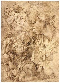 MICHELANGELO Buonarroti Bust of the Virgin in Profile, the Child Reclining on a Cushion 1503-04 Pen and brown ink, 282 x 210 mm Staatliche Museen, Berlin
