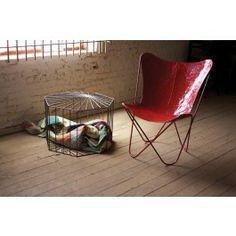 Distressed Red Iron Butterfly Chair