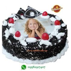 This Round shape Black Forest photo cake is perfect for special occasions like Birthday party,Anniversary party,New year celebration even any special day celebrate with your Family, just book this cake and create your party memorable! Photo Print Cake, Eggless Chocolate Cake, Delicious Chocolate, Cake Printer, Fresh Cake, Black Forest Cake, Cake Online, Cake Delivery, Gift Cake