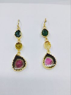 Gemvanity presenting silver gold plated watermelon tourmaline earrings Tourmaline Earrings, Watermelon Tourmaline, Gemstone Jewelry, Jewellery, Drop Earrings, Gemstones, Silver, Gold, Handmade